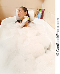 mulher, banho