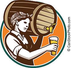mulher, bartender, despejar, barril, barril, cerveja, retro