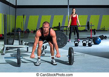 mulher, barzinhos, peso, ginásio, malhação, levantamento, homem