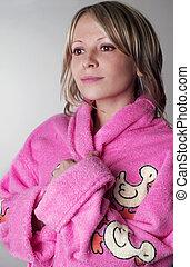 mulher, bathrobe