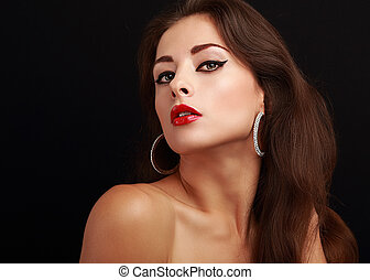 mulher, batom, maquilagem, olhar, quentes, pretas, excitado, vermelho