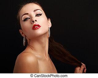 mulher, batom, olhar, luminoso, pretas, excitado, vermelho