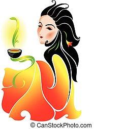 mulher, bebendo, chá verde