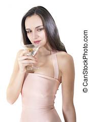 mulher, bebida