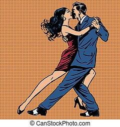 mulher, beijo, arte, homem, tango, dança, estouro
