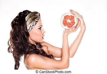 mulher, beleza, alimento, -, jovem, cítrico, morena, baixo, preferring, caloria