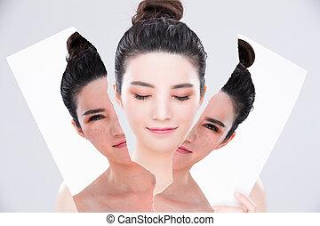 mulher, beleza, cuidado pele, conceito