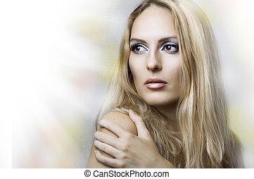 mulher, beleza, face., jovem, moda, retrato