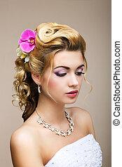 mulher, beleza, freshness., femininity., flowers., ...