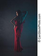 mulher, beleza, jovem, excitado, vestido, vermelho