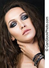 mulher, beleza, jovem, moda, make-up., retrato