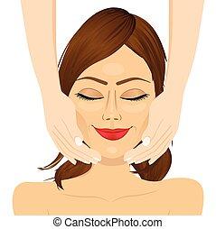 mulher, beleza, jovem, terapia, atraente, facial, desfrutando, massagem