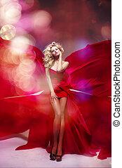 mulher, beleza, loura, excitado, vestido, vermelho