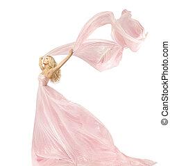 mulher, beleza, moda, vestido, menina, em, seda, vestido, waving, ligado, vento