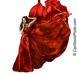 mulher, beleza, moda, vestido, menina, em, vermelho, elegante, seda, vestido, waving