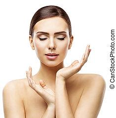 mulher, beleza natural, cima, fazer, pele, skincare, isolado, fundo, mãos, cuidado, modelo, rosto, branca