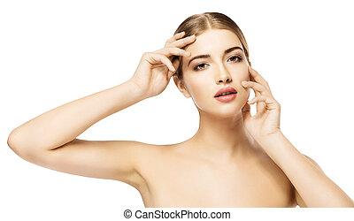 mulher, beleza natural, sobre, pele, maquilagem, isolado, testa, fundo, mãos, cuidado, modelo, rosto, branca, bochechas