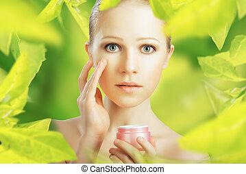 mulher, beleza natural, verde, creme pele, cuidado