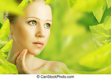 mulher, beleza natural, verde, cuidado pele