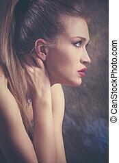 mulher, beleza, retrato