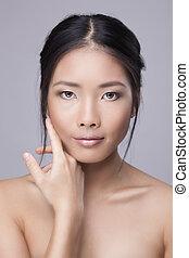 mulher, beleza, rosto, skincare, tocar, asiático, pele