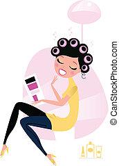 mulher, beleza, /, salão, cabeleireiras