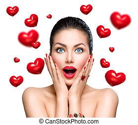 mulher, beleza, voando, moda, surpreendido, corações, vermelho