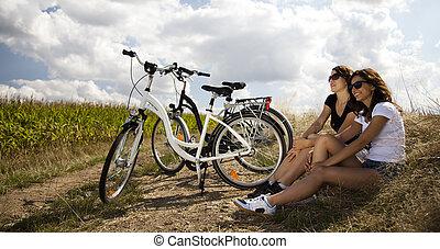 mulher, bicicleta equitação