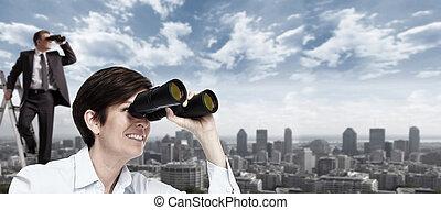 mulher, binoculars., negócio