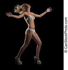 mulher, biquíni, dançar