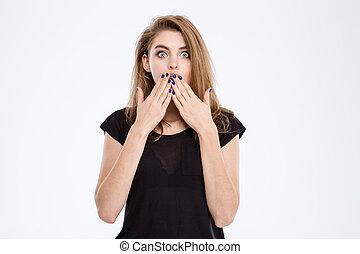 mulher, boca, chocado, dela, cobertura