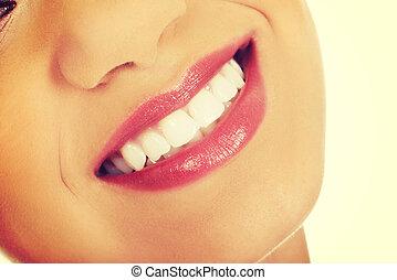 mulher, boca, com, perfeitos, smile.
