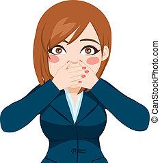 mulher, boca covering, com, mãos