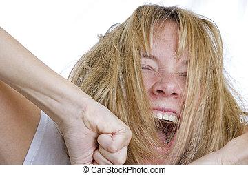 mulher, bocejar