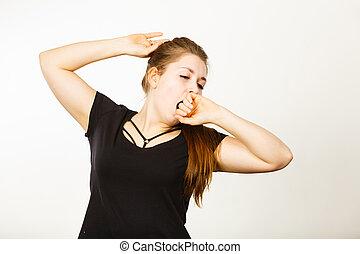 mulher, bocejar, jovem, cansadas