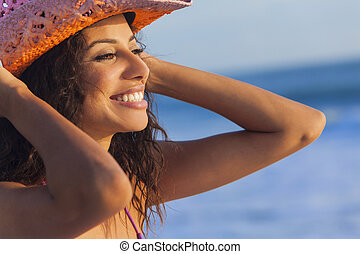 mulher, boiadeiro, praia, biquíni, sorrindo, chapéu, menina