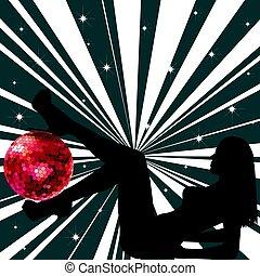 mulher, bola, discoteca