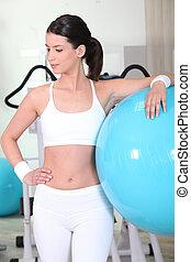 mulher, bola, exercício