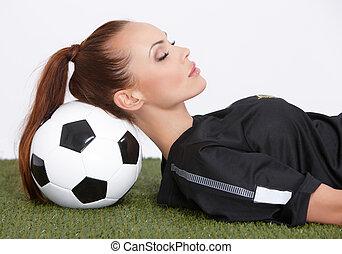 mulher, bola futebol