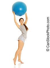 mulher, bola, segurando, condicão física