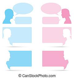 mulher, bolha, conversa, homem