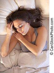 mulher, bom, sono, tendo, noite