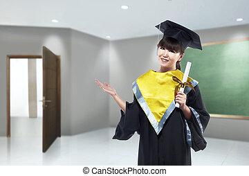 mulher, boné, diploma, graduação, asiático, scroll, feliz