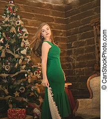 mulher bonita, árvore, jovem, natal