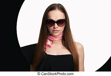 mulher bonita, óculos de sol