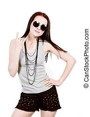 mulher bonita, óculos de sol, loura, shorts, posar, fundo, excitado, hipster, branca, pretas