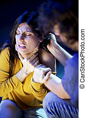 mulher bonita, abusado, por, homem, violência doméstica