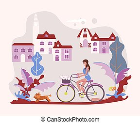 mulher bonita, acaricie proprietário, ligado, bicicleta,...