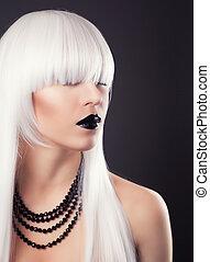 mulher bonita, acessórios, pretas, maquiagem, loiro