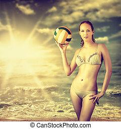 mulher bonita, adelgaçar, jovem, voleibol